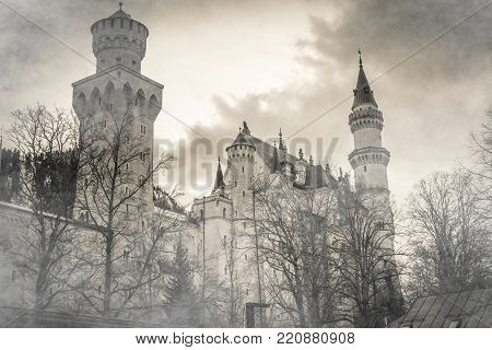 Beautiful castle of the tales lost in the fog
