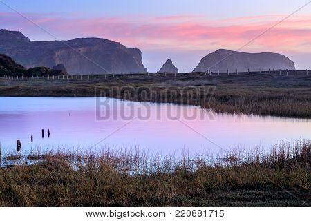 Rodeo Lagoon in Dusk Colors. Marin Headlands, California, USA.