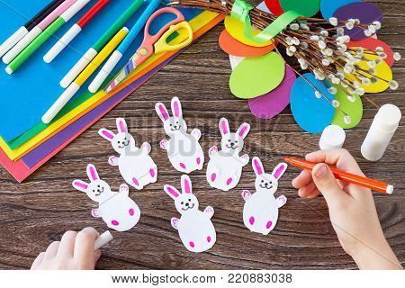 The Child Draws Details Of The Easter Gift Wreath. Hand-made. Children's Art Project For Children. C