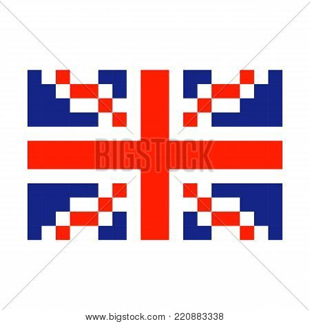 Great Britain Pixel flag art cartoon retro game style set