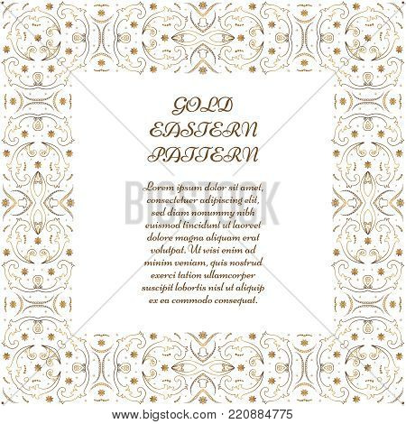 Gold square frame. Ornate vignette for Your design cards, invitations. Element in Arabic style. Vector illustration.