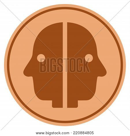 Dual Face bronze coin icon. Vector style is a copper flat coin symbol.