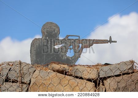 Golan Heights, Israel - October 31, 2016: Sculpture on the Golan Heihts between Israel and Syria. Israel captured the Golan Heights in 1967 war and annexed it in 1981. Its not recognized internationally.