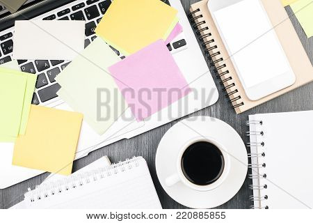 Creative White Desk With Blank Cellphone