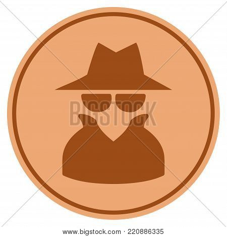 Spy bronze coin icon. Vector style is a copper flat coin symbol.