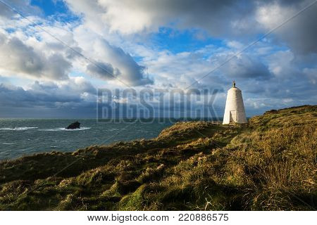 The Pepper Pot Daymark In The Winter Afternoon Sunshine, Portreath, Cornwall, Uk