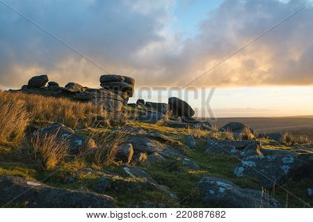 Showery Tor At Sunsrise, Bodmin Moor, Cornwall, Uk