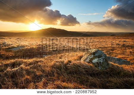 Brown Willy Tor On Bodmin Moor, With Beautiful Sky, Cornwall, Uk