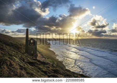 Sunset At Wheal Coates With Beautiful Sky, St Agnes, Cornwall, Uk