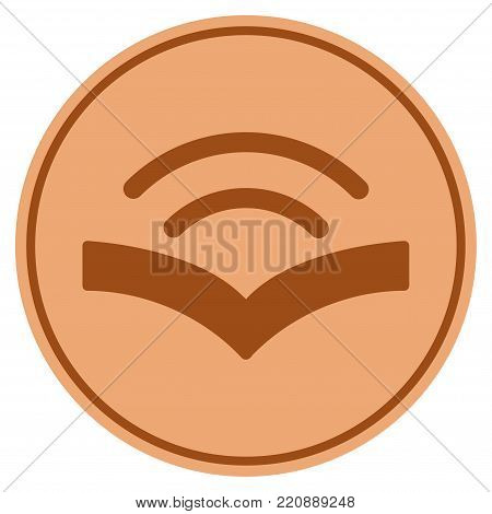 Audiobook bronze coin icon. Vector style is a copper flat coin symbol.