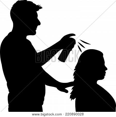 a coiffeur performing, black color silhouette vector