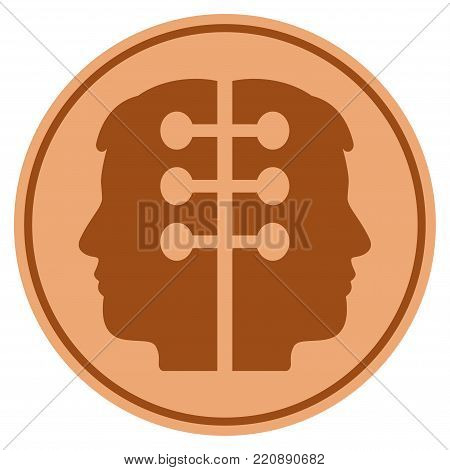Dual Head Interface bronze coin icon. Vector style is a copper flat coin symbol.