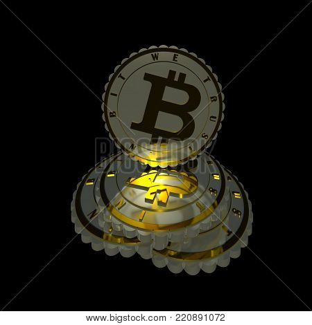 Silver and gold crypto currency coins composition 3D illustration sign isolated on black. Shiny metal textures, reflections, highlights, motto 3d text. Collection.