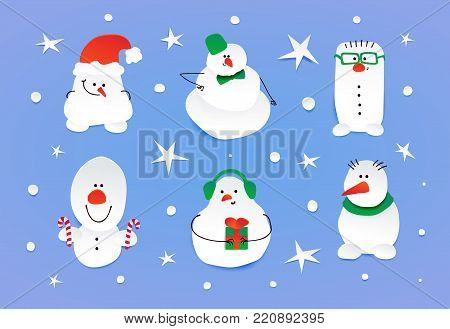 Set of six cute snowmen. Shy, complacent, hipster, surprised, happy and smiling characters. Vector illustration isolated on blue