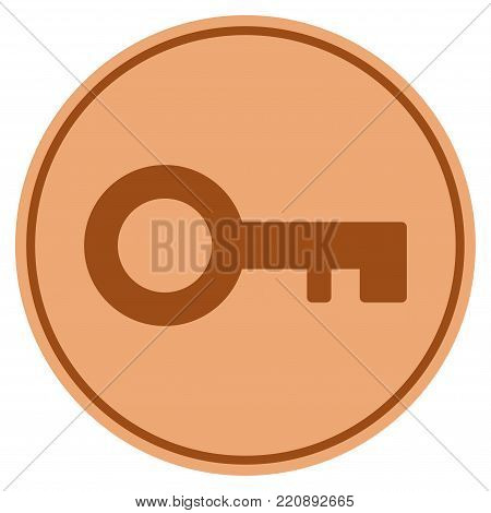 Key bronze coin icon. Vector style is a copper flat coin symbol.