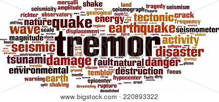 Tremor word cloud concept. Vector illustration on white