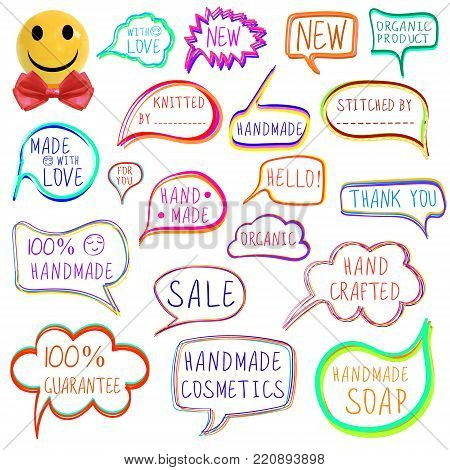 VECTOR set of drawn colorful vector speech and thought bubbles, hand made theme, with realistic smiley face ball.