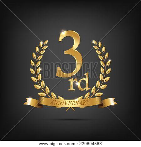 3 anniversary golden symbol. Golden laurel wreaths with ribbons and third anniversary year symbol on dark background. Vector anniversary design element