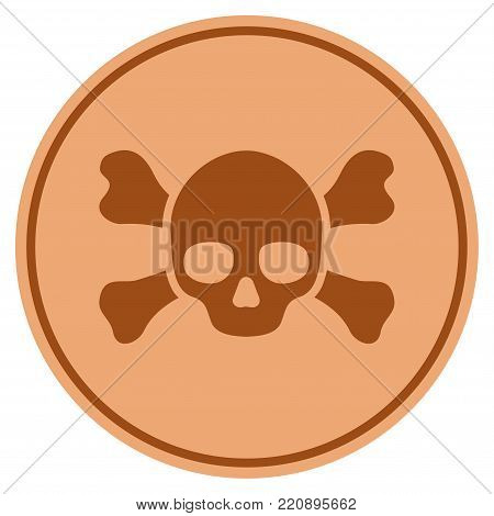 Skull Crossbones bronze coin icon. Vector style is a copper flat coin symbol.