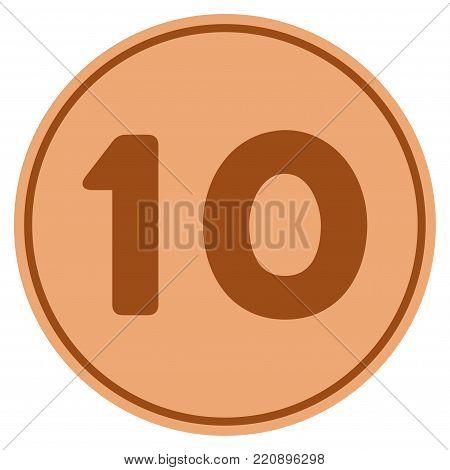 Ten bronze coin icon. Vector style is a copper flat coin symbol.