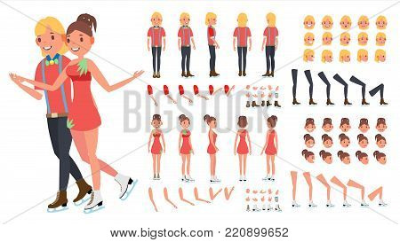 Figure Skating Couple Vector. Woman And Male. Ice Skating. Animated Character Creation Set. Full Length, Front, Side, Back View, Face Emotions, Gestures. Flat Cartoon Illustration
