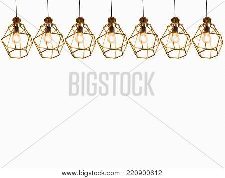 Vintage caged creative lamp light bulb in modern style for home or restaurant decor. Interior light design concept.
