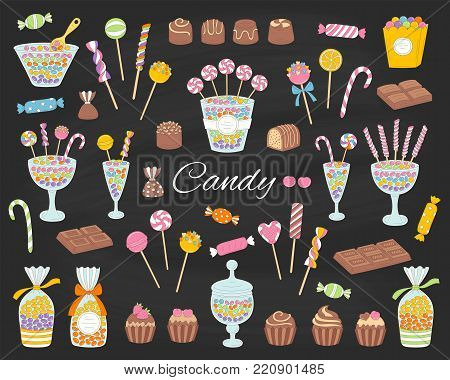 Candy set vector hand drawn doodle illustration. Different kinds of colorful sweets, candies, lollipops, sweetmeats, chocolates, glass candy jars, isolated on chalkboard poster