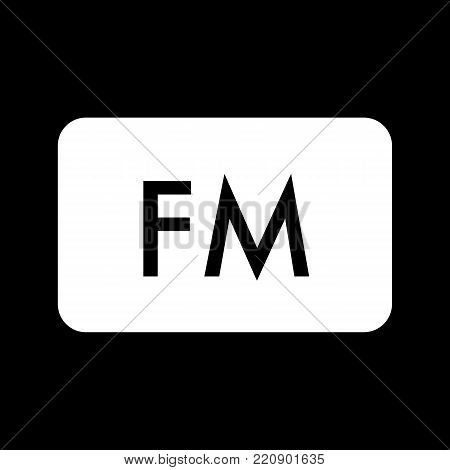 FM radio frequency vector icon. Linear design isolated on black background. eps 10