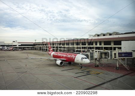 Aircraft Prepare To Take Off From Runway At Don Mueang International Airport In Bangkok, Thailand