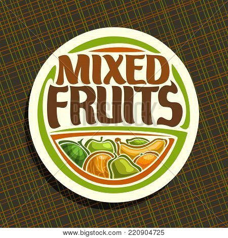 Vector logo for Fruits, sign with set of watermelon, green apple, sour lime, tropical banana fruit, sweet melon, fresh pear and ripe orange, veg mix label with title text mixed fruits for vegan store.