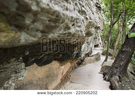Route Way For Travelers People Walking On Pathway Go To Visit And Looking Rock Art On Cliffs At Pha