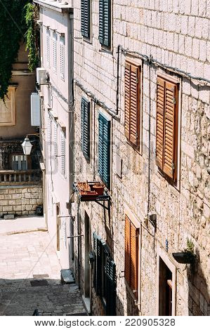 Colored shutters in the old city of Dubrovnik, Croatia