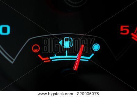 Set of car dash boards petrol meter, fuel gauge, on black background concept warning checking oil