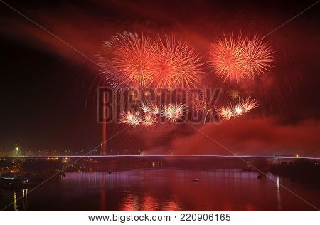 Fireworks above Ada bridge in Belgrade at night