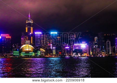 Landscape of The Symphony of Lights and sound city of life at Victoria Harbor in HONG KONG