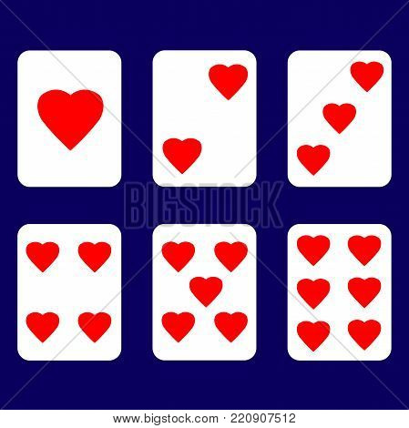 Card with red heart Numbered from one to six.