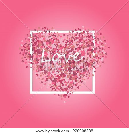 Heart shape vector pink confetti splash with white heart frame inside. Pink heart in a white frame on a pink background.