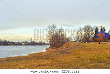 Park on coast of Neva river on the outskirts of St. Petersburg at spring day, Russia.