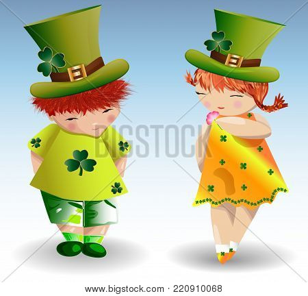 Red-haired girl in St. Patrick's green hat, yellow dress adorned with clover leaves surrounded by butterflies
