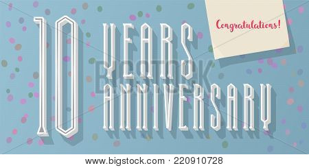 10 years anniversary vector icon, logo. Graphic horizontal design element for 10th anniversary greeting card