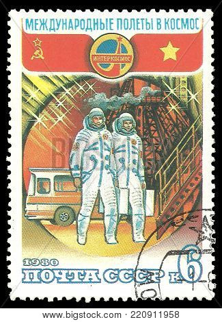 USSR - circa 1980: Stamp printed by USSR, Color edition on Soviet-Vietnam Space Flight, shows Boarding Soyuz, circa 1980