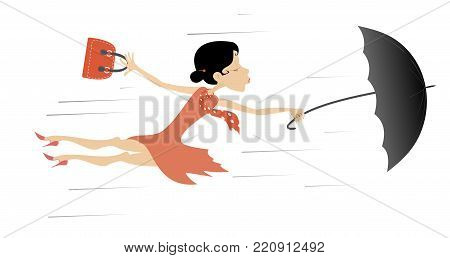 Windy day and young woman with umbrella isolated. Young woman tries to hold an umbrella and a fancy bag gone with the strong wind cartoon illustration