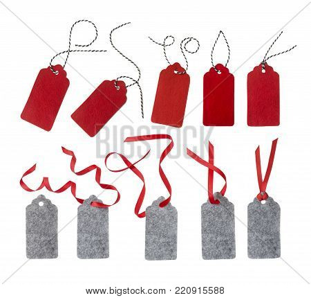 Collage of gift tags isolated on white background. Sale labels. Price tags. Special offer and promotion. Store discount. Shopping time. Gift labels. Label from red and gray felt.