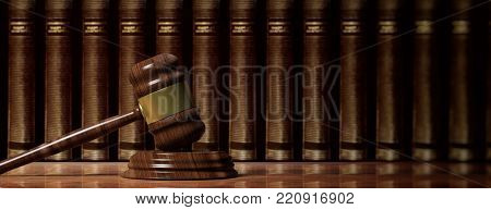 Law concept. Wooden judge gavel on law books background, banner. 3d illustration