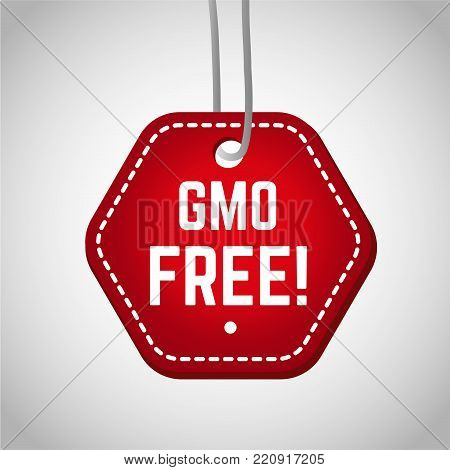 Red gmo free stamp for food product. Healthy diet concept
