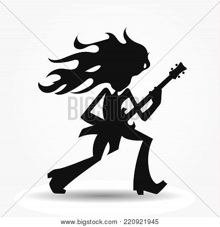 Isolated vector silhouette of the metalhead, long haired rock guitarist cartoon image