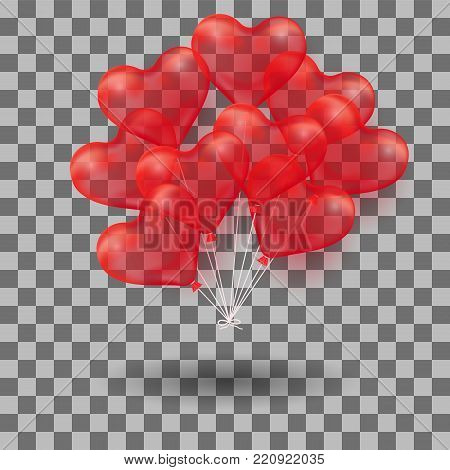 3d Realistic helium heart red Balloon. Holiday illustration of bunch of flying glossy balloon. Isolated on transparent Background. Vector Illustration Eps10