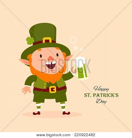 St.Patrick 's Day. Leprechaun, Traditional national character of Irish folklore. Isolated element of the set of leprechauns 09. Festive collection. Vector illustration.