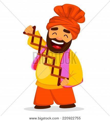 Popular winter Punjabi folk festival Lohri. Funny Sikh man, cartoon character. Vector illustration on white background