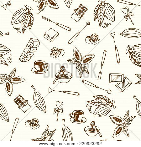 Chocolate cacao sketch seamless pattern. Design menu for restaurant, shop, confectionery, culinary, cafe, cafeteria, bar. Cocoa beans line icon or emblem. Vector illustration